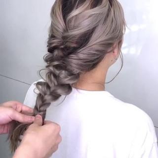 デート ハイライト ガーリー ロング ヘアスタイルや髪型の写真・画像