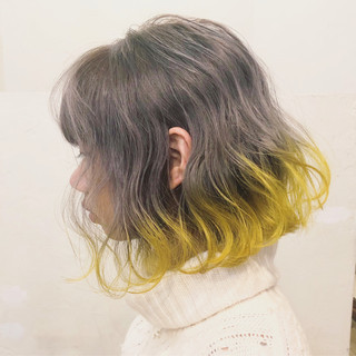 外国人風カラー ボブ ダブルカラー ハイトーン ヘアスタイルや髪型の写真・画像