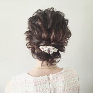 結婚式 ガーリー ナチュラル ミディアム ヘアスタイルや髪型の写真・画像
