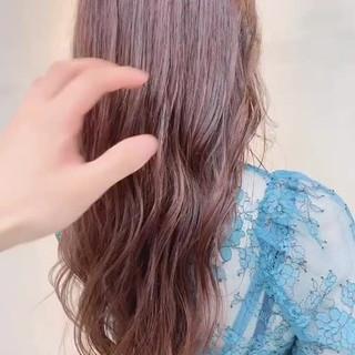 ナチュラル ピンクベージュ 透明感カラー ロング ヘアスタイルや髪型の写真・画像