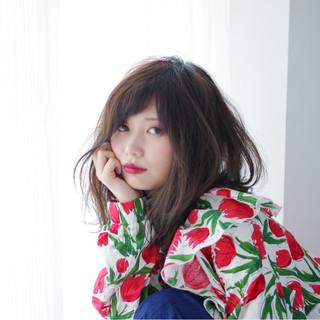 デート 女子会 ミディアム ガーリー ヘアスタイルや髪型の写真・画像