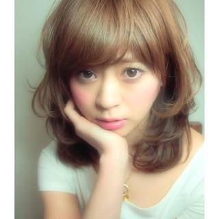おフェロ 前髪あり ガーリー フェミニン ヘアスタイルや髪型の写真・画像