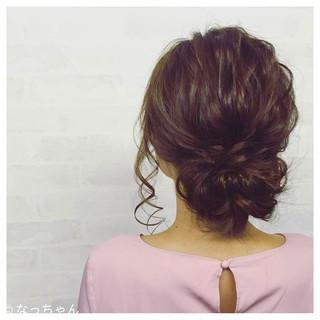パーティ セミロング お呼ばれ ヘアアレンジ ヘアスタイルや髪型の写真・画像