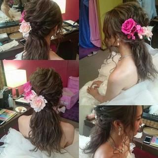 ブライダル ポニーテール ロング ヘアアレンジ ヘアスタイルや髪型の写真・画像