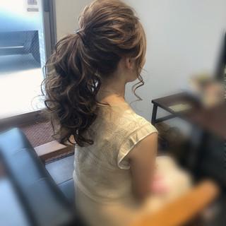 結婚式 ロング ヘアアレンジ ポニーテールアレンジ ヘアスタイルや髪型の写真・画像