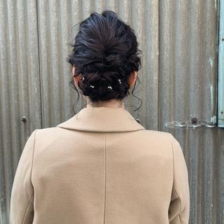 フェミニン アップスタイル ヘアアレンジ ミディアム ヘアスタイルや髪型の写真・画像