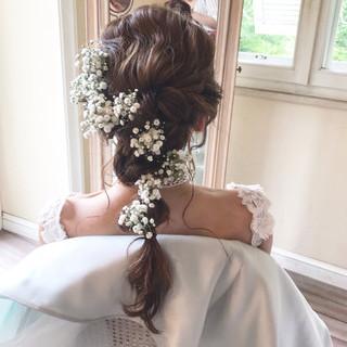 ガーリー 編みおろしヘア ヘアアレンジ 結婚式 ヘアスタイルや髪型の写真・画像