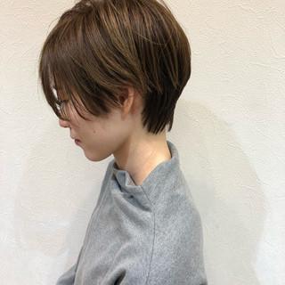 ショートボブ ナチュラル 小顔 ショート ヘアスタイルや髪型の写真・画像