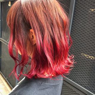 ミディアム ボブ グラデーションカラー ダブルカラー ヘアスタイルや髪型の写真・画像