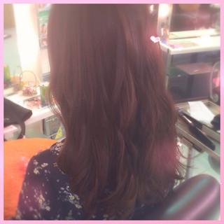 ピンク ベージュ ロング ナチュラル ヘアスタイルや髪型の写真・画像