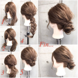 フェミニン ヘアアレンジ ナチュラル 簡単ヘアアレンジ ヘアスタイルや髪型の写真・画像