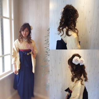 セミロング 振袖 アップスタイル 着物 ヘアスタイルや髪型の写真・画像