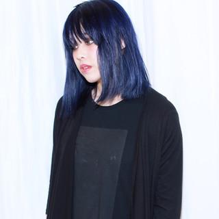 暗髪 ネイビー ストリート ダブルカラー ヘアスタイルや髪型の写真・画像