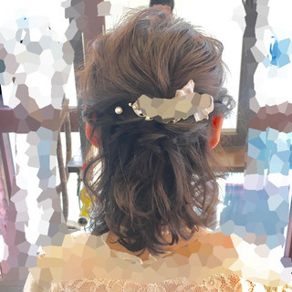 ハーフアップ ヘアアレンジ フェミニン ボブ ヘアスタイルや髪型の写真・画像 ヘアスタイルや髪型の写真・画像
