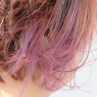 ピンクパープル オレンジ インナーカラーパープル パープル ヘアスタイルや髪型の写真・画像