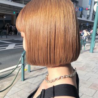 ヌーディーベージュ ブリーチ ボブ ミルクティーベージュ ヘアスタイルや髪型の写真・画像