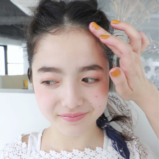 夏 簡単ヘアアレンジ バンダナ セミロング ヘアスタイルや髪型の写真・画像
