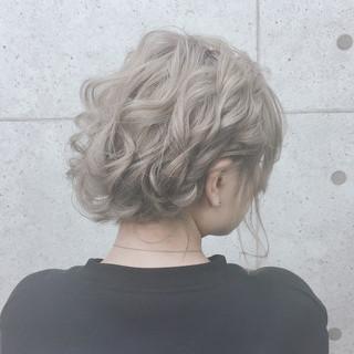 結婚式 アップスタイル 切りっぱなしボブ ヘアセット ヘアスタイルや髪型の写真・画像