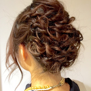 デート ヘアアレンジ ロープ編み 結婚式 ヘアスタイルや髪型の写真・画像