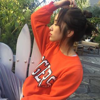 お団子アレンジ ナチュラル セルフヘアアレンジ ボブアレンジ ヘアスタイルや髪型の写真・画像