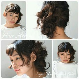 外国人風 ヘアアレンジ セミロング 前髪あり ヘアスタイルや髪型の写真・画像