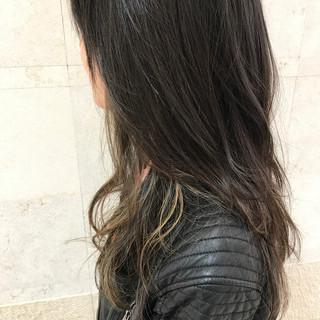 ハイライト 黒髪 こなれ感 インナーカラー ヘアスタイルや髪型の写真・画像