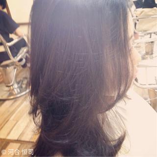 大人かわいい グラデーションカラー フェミニン セミロング ヘアスタイルや髪型の写真・画像