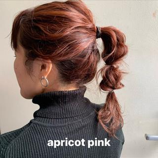 ダブルカラー レイヤーカット ミディアム オレンジベージュ ヘアスタイルや髪型の写真・画像