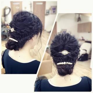 ロープ編み アップスタイル パーティ コンサバ ヘアスタイルや髪型の写真・画像