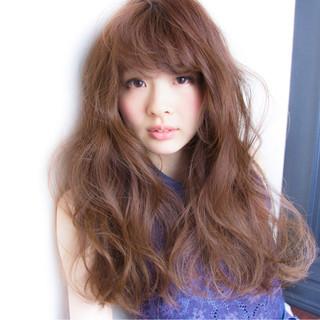 ゆるふわ ロング ガーリー グレージュ ヘアスタイルや髪型の写真・画像