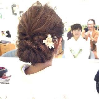 パーティ 結婚式 セミロング エレガント ヘアスタイルや髪型の写真・画像