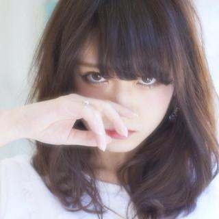 透明感 フェミニン 大人かわいい ミディアム ヘアスタイルや髪型の写真・画像