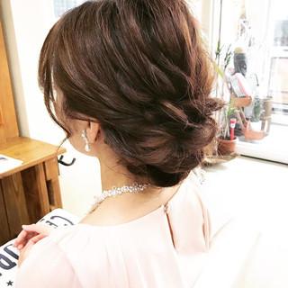 色気 ヘアアレンジ シニヨン セミロング ヘアスタイルや髪型の写真・画像