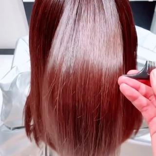 モテ髪 セミロング ツヤ髪 カラートリートメント ヘアスタイルや髪型の写真・画像