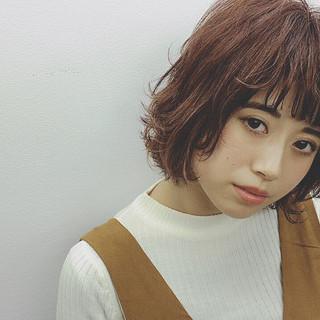 ボブ パーマ 外国人風 冬 ヘアスタイルや髪型の写真・画像