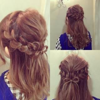 編み込み 大人かわいい セミロング パーティ ヘアスタイルや髪型の写真・画像