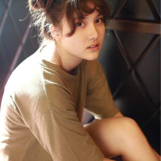 ロング ショート 簡単ヘアアレンジ ナチュラル ヘアスタイルや髪型の写真・画像