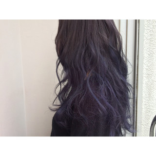 ブルージュ 暗髪 パープル ネイビー ヘアスタイルや髪型の写真・画像