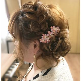 ミディアム 結婚式 夏 パーティ ヘアスタイルや髪型の写真・画像