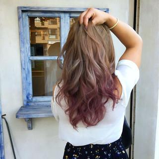 ウェーブ ピンク 透明感 秋 ヘアスタイルや髪型の写真・画像