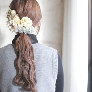 結婚式 ショート ゆるふわ ロング ヘアスタイルや髪型の写真・画像