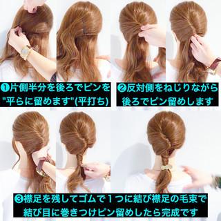 簡単ヘアアレンジ デート アウトドア フェミニン ヘアスタイルや髪型の写真・画像 ヘアスタイルや髪型の写真・画像