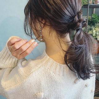 セミロング フェミニン アンニュイほつれヘア デート ヘアスタイルや髪型の写真・画像