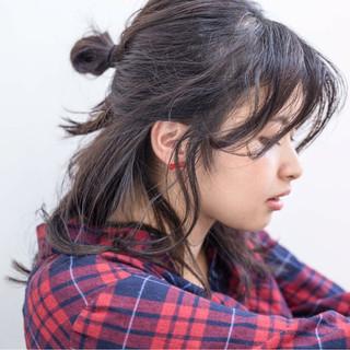 黒髪 セミロング ゆるふわ ハーフアップ ヘアスタイルや髪型の写真・画像 ヘアスタイルや髪型の写真・画像