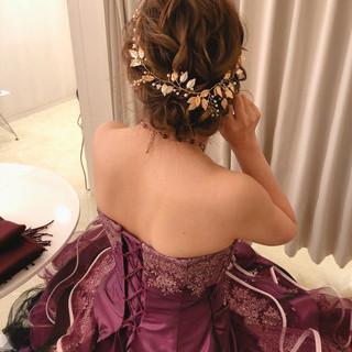 ヘアセット ミディアム フェミニン ブライダル ヘアスタイルや髪型の写真・画像