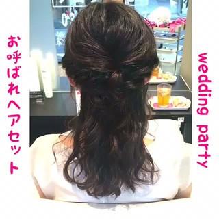 パーティ ハーフアップ 上品 ヘアアレンジ ヘアスタイルや髪型の写真・画像
