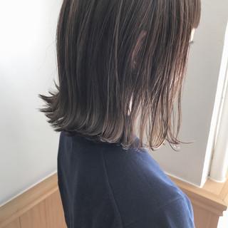 ハイライト ロブ ミディアム ナチュラル ヘアスタイルや髪型の写真・画像