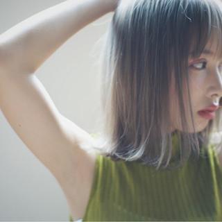 アッシュ ボブ グラデーションカラー 外国人風 ヘアスタイルや髪型の写真・画像