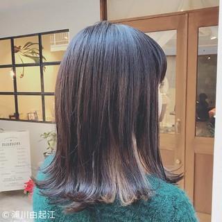 外国人風カラー ミディアム インナーカラー デート ヘアスタイルや髪型の写真・画像