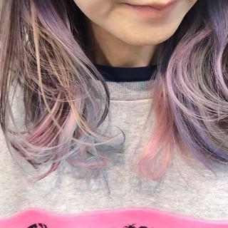 ユニコーンカラー ストリート グラデーションカラー バレイヤージュ ヘアスタイルや髪型の写真・画像